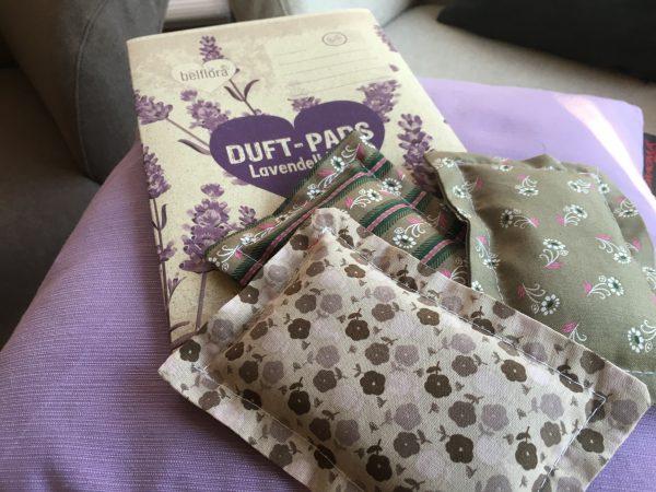 3er Set Lavendelkissen - grün/vintage mit Graspapierverpackung