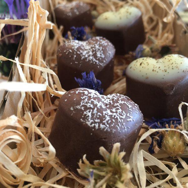 Badepralinen mit Kakao und Vanille